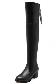 Chic bottines cuissardes noire avec laçage et zip