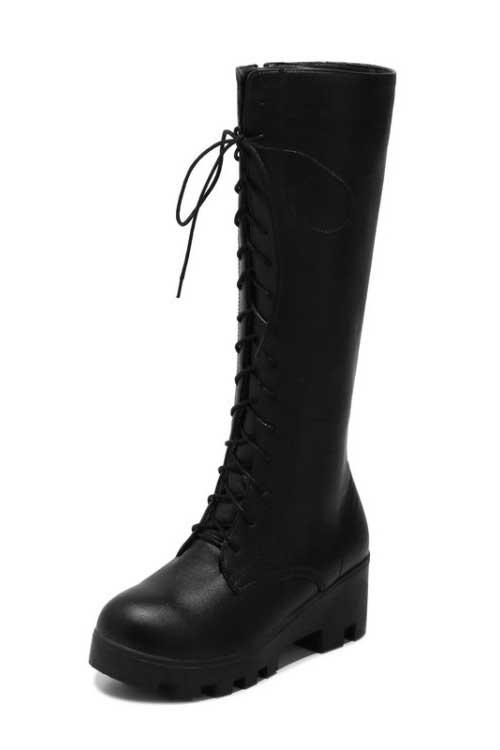 Bottes femmes noir avec lacets devant à plate-forme