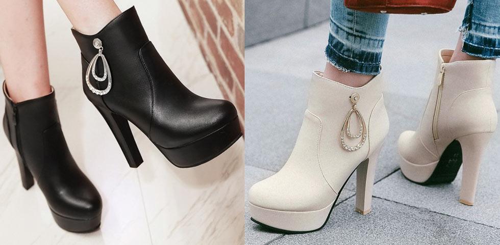 bottine à talon haut noir beige plate-forme hiver orné de strass chaussure femme
