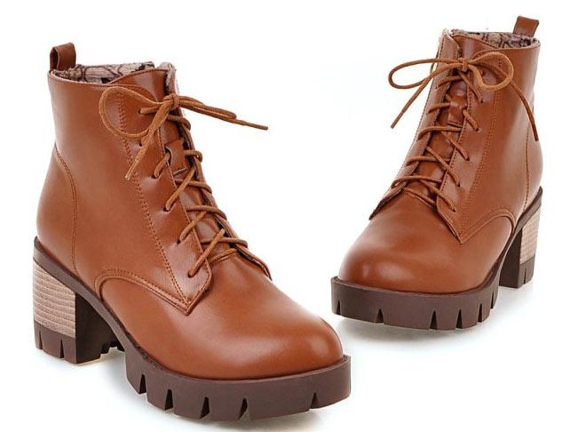 bottes marron en tendance les meilleurs ventes à lacet avec plate-forme pour femme en hiver chaussure livraison rapide