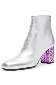 Low boots argentés talon violet zip latéral au cheville