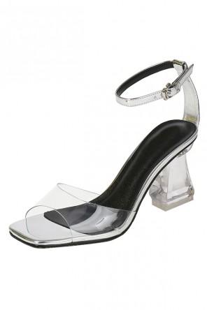 Sexy sandale de ville à talon haut transparent