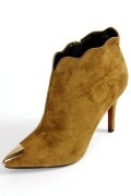 Low boots velours tige festonne à bout métallique