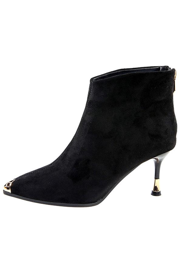 Low boots suédé noir à bout pointu métallique talon haut