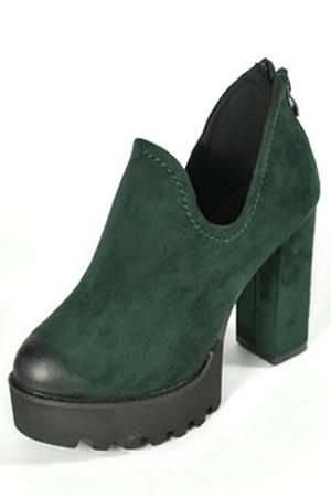Low boots plateforme vert foncé à talon bottier