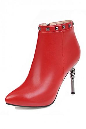 Chic bottine femme rouge bout pointu talon spiral ornée de clous
