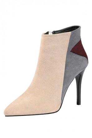 Low boots beige gris en suède bout pointu tallon aiguille