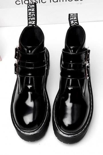 bottines plates femme noir vernis