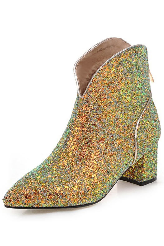 Low boots femme chic en sequins à talon carré
