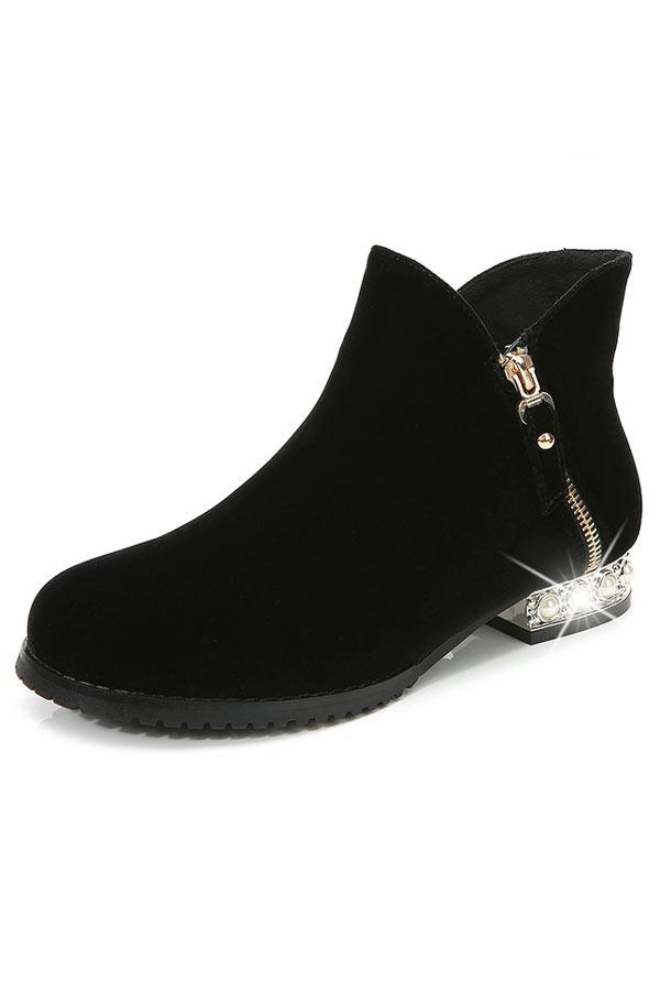 Low boots femme à talon perlé