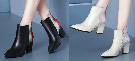 bottine femme bloc couleur unique à talon haut bout pointu en tendance les meilleurs ventes