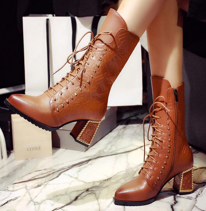 bottine marron vintage chaussure femme en hiver automne pointu talon épais avec rivets les meilleurs ventes