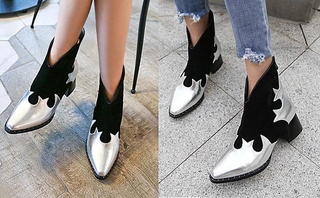 Bottines noires et argentées bout pointu avec jean