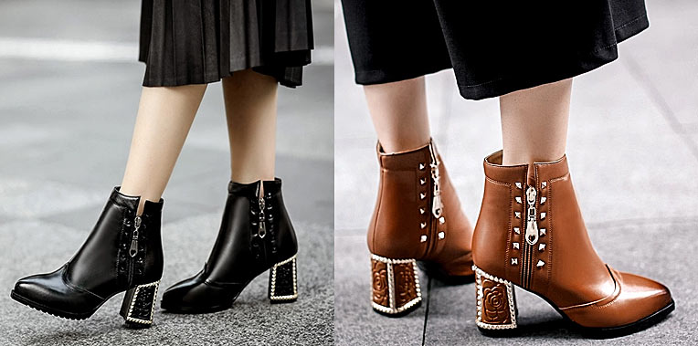 vintage bottes femme en tendance 2018 talon épais