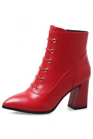 Vintage Bottes femme cuir rouge à oeillet talons hauts bout pointu