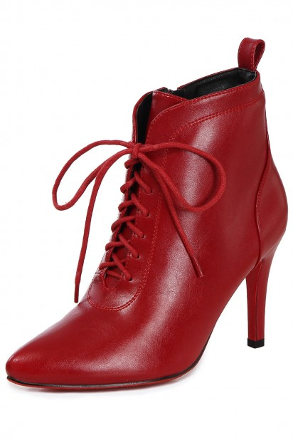 Bottines rouge rubis en cuir bout pointu à talon 7 / 9 cm