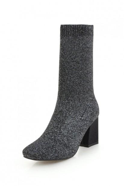 Bottine de chaussette élastique bout carré talon épais