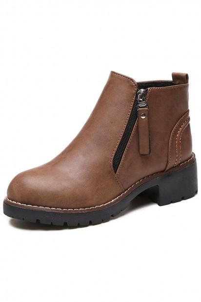 Low boots femme marron vintage bout rond talon plat