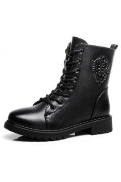 Boots femme à lacets noirs
