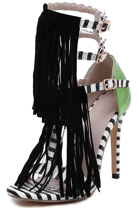 Sandales vertes zébrées avec franges à talons hauts