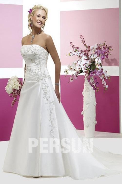 Plissiert Blumenstickerei weiß A-Linie träglos Abendkleid