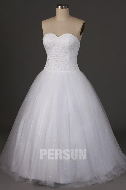 Robe de mariée princesse classique à bustier coeur & jupe brillante