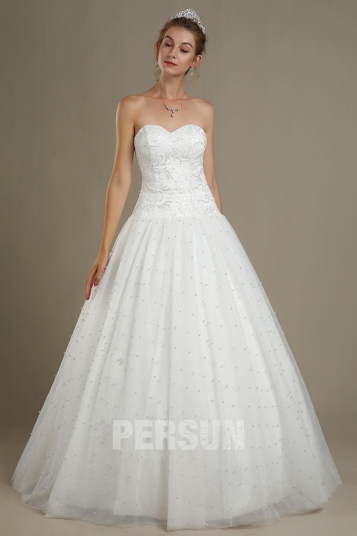 classique robe mariée princesse bustier coeur appliqué de dentelle à jupe perlée