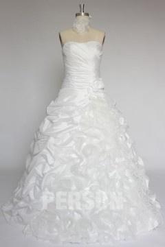 Robe de mariée princesse bustier vague en taffetas & organza
