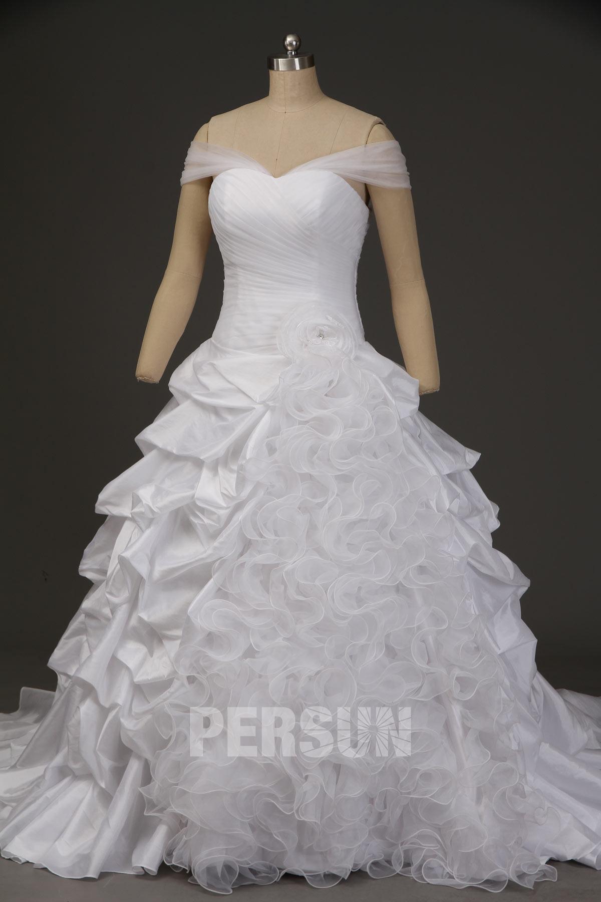 robe de mariée princesse col bardot jupe brouillonné en organza et taffetas
