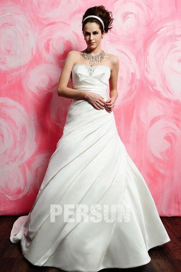 Robe de mariée plissée à A-ligne sans bretelle en satin