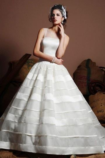 Robe de mariage princesse à bustier droite en organza