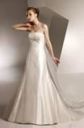 Empire A-Linie Trägerloses Brautkleider aus Taft mit Knopfe