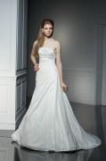 Schlichtes A-Linie Trägerloses Ärmelloses Brautkleider aus Taft