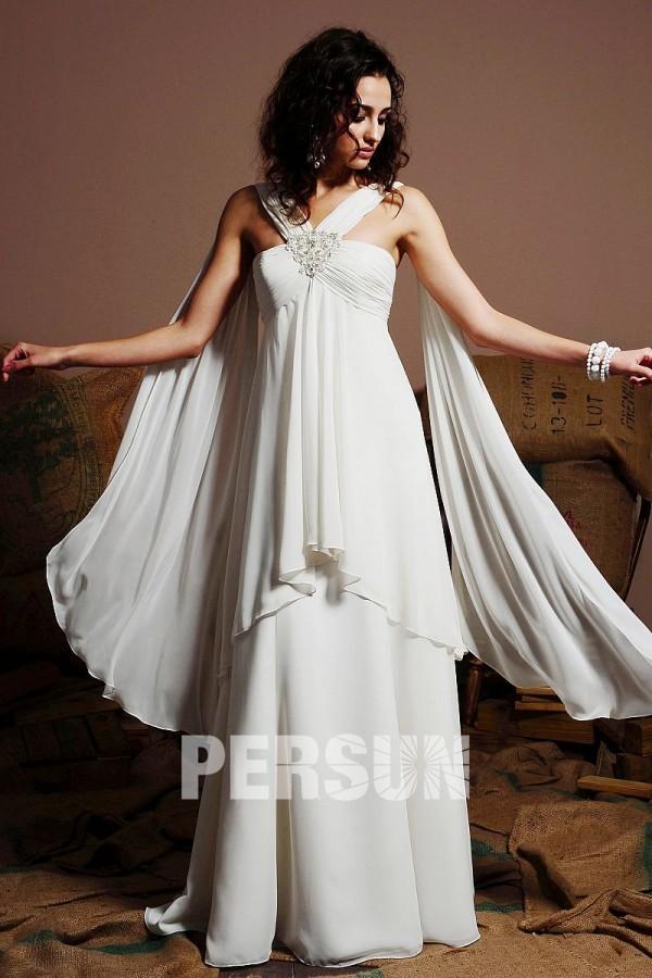 robe de mariée empire bustier ornée de strass plissé avec voilage mousseline longue