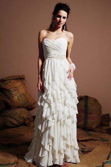 Robe de mariée en mousseline à bustier cœur