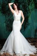 Elegantes Meerjungfrau V-Ausschnitt Empire Brautkleider aus Organza