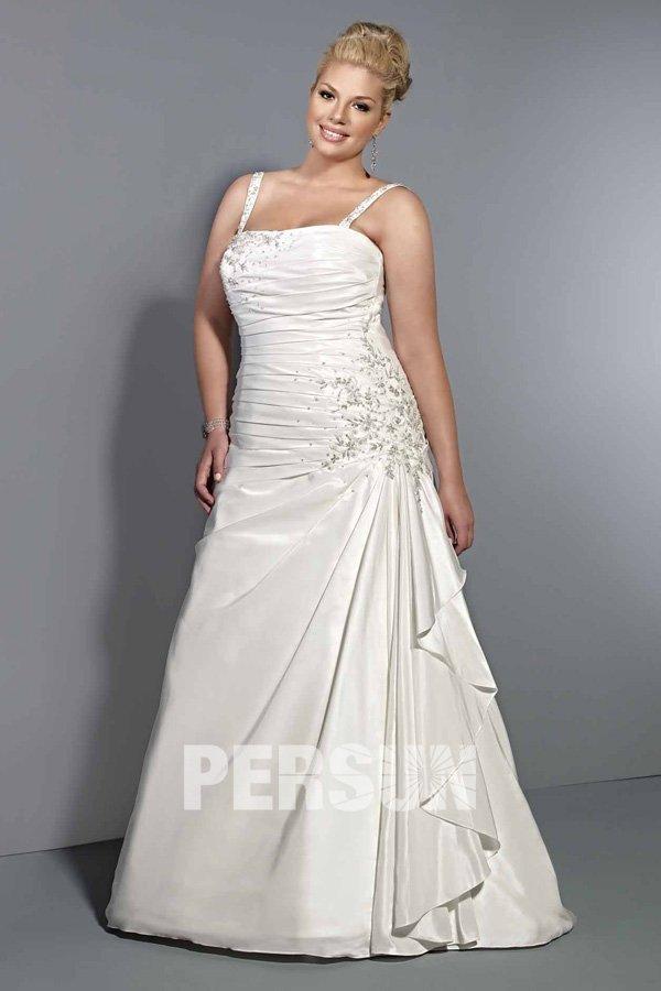 Robe de mariée en taffetas à A-ligne ornée de strass avec bretelle fine