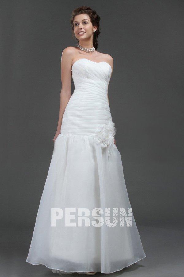 Robe de mariée en organza à traîne Balayage décolletée en coeur avec applique