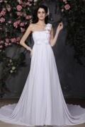 Simple Robe de mariée longue bustier vague asymétrique avec fleur fait-main