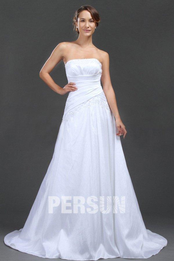 Robe de mariée en taffetas à A-ligne blanc sans bretelle avec applique