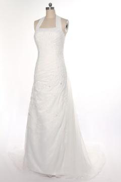 Robe de mariée en organza ivoire pour silhouette A ruchée