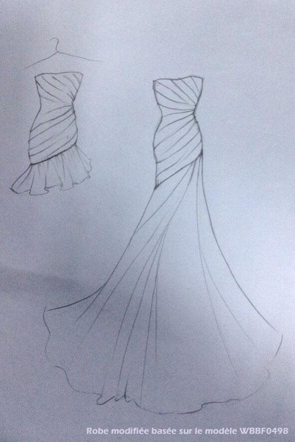 croquis robe de mariée courte
