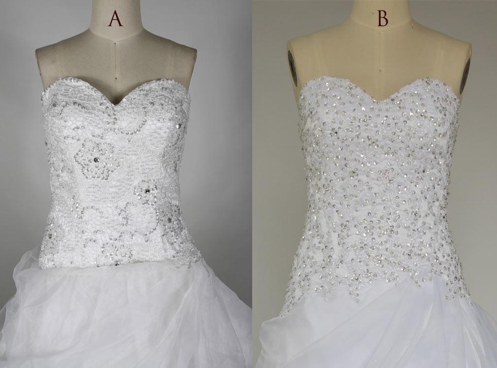 robe de mariée blanche à bustier coeur recouverte de dentelle