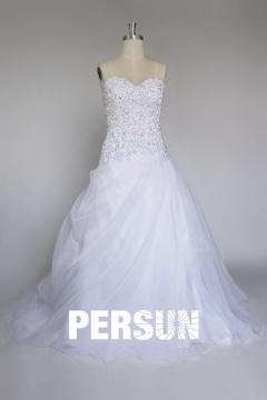Robe de mariée en organza bustier coeur avec strass
