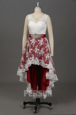 Robe de mariée dentelle court devant jupe bloc couleur en bordeaux
