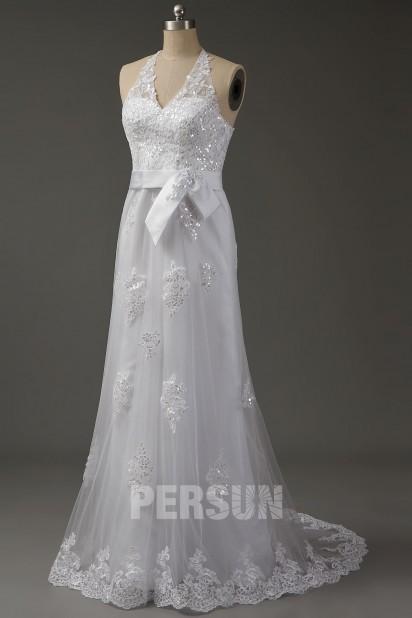 Vintage Robe de mariée halter appliqué de dentelle sequin à ourlet feston