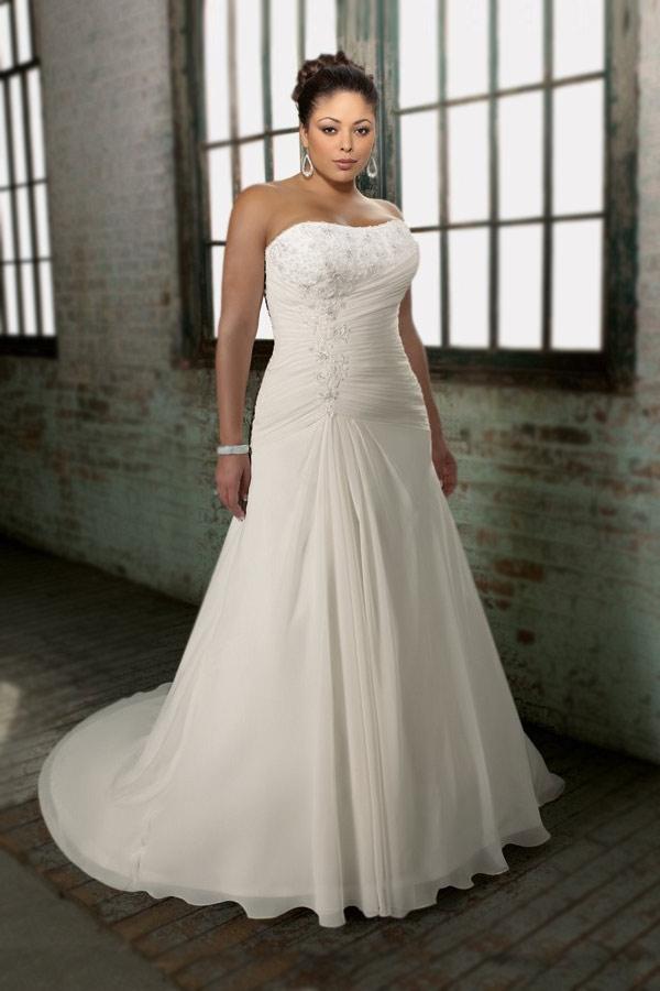 03e54148eff2c Robe de mariée de grande taille à A-ligne décolletée en coeur en ...