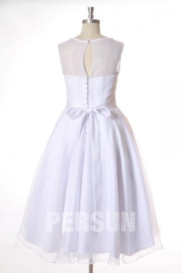 36047027236 Robe de mariée civil en organza mi longue taille fleurie de plume