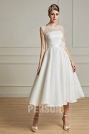 Elegantes Knielanges A-Linie Rund-Ausschnitt Hochzeitskleid