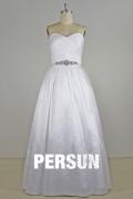Robe de mariée bustier coeur Ligne A en taffetas taille bijoutée